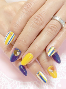 青×黄ストライプ
